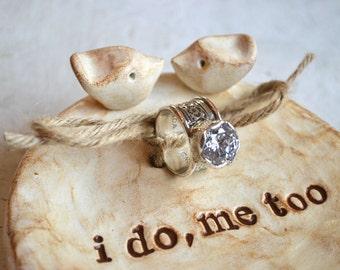 Ring pillow ... Wedding ring dish ... ring bearer bowl, handmade keepsake clay lovebird dish ... i do me too