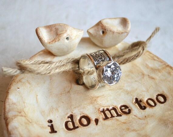 Ring pillow ... Wedding ring dish ... ring bearer bowl, handmade polymer clay lovebird dish ... i do me too