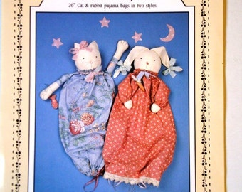 The Cats Pajamas Pattern UNCUT Cat and Rabbit Pajama Bags Sewing Patterns in Two Styles