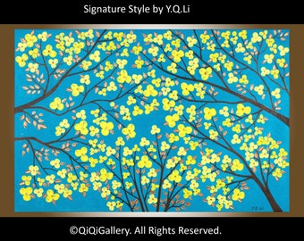 """black friday sale cyber monday acrylic Impasto Palette Knife yellow Flower tree Wall art wall decor """"The Blooming Season"""" by qiqigallery"""