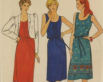 Vintage 80's Sewing Pattern, Misses Dress, Size 14