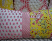Vintage Chenille/Down Pillow 12x20/Cottage Pink Yellow Flower/French Shabby Chic/Decorative Throw Pillow/Bedroom/Coastal