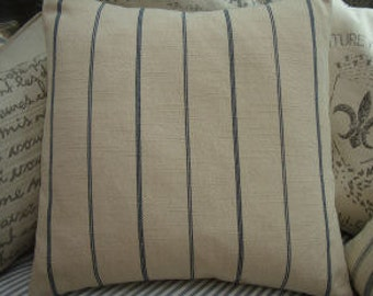"Linen Cottage 20"" Down Pillow Paris Shabby Chic Ticking Blue Stripe"