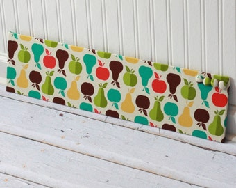 Wall Mount Magnet Board 6inx24in Dorm Decor - Colorful Apples Fabric