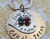 Love You Grandma Keychain - Hand-Stamped Custom Names -Personalized Keychain - K20