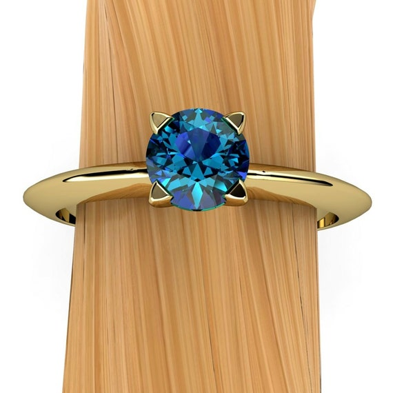 London Blue Topaz Ring in 14k Recycled Gold, Solitaire Prong Setting with Knife Edge Band, Stacking - Free Gift Wrapping