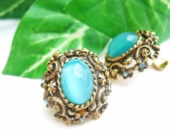 1950s Blue Vintage Earrings Moonstone Rhinestone Clip On Costume Jewelry Mid Century Aqua Glass SarahCov Signed Sarah Coventry