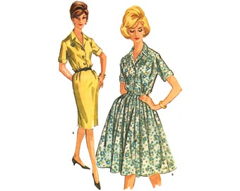 Vintage Sewing Pattern 1960s Shirtwaist Dress Rockabilly Half Size Extra Large bust 39 Full or Slim Skirt McCall's 6949