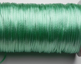 10 yards 2mm Greenish Turquoise  Satin Rattail Cord
