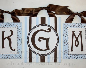 Light baby Blue Brown white paisley stripes custom canvas letter name sign wall painting monogram set art decor children personalized