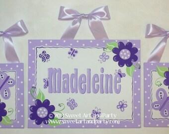 Lavender purple Green Flowers Custom canvas name sign wall art  kids hand painted dots set of 3 monogram children decor