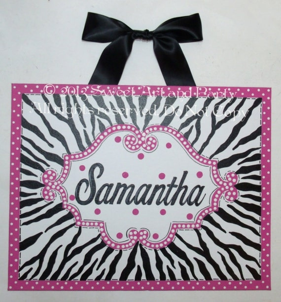 items similar to zebra canvas name sign zebra nursery