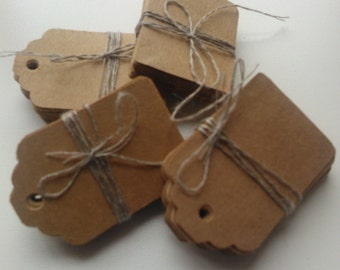 Medium plain kraft brown card price hang gift tags