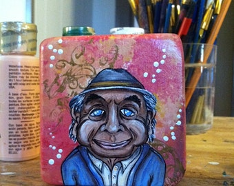 Hand Painted Wood Block Art - Artie (Grumpy Old Men)