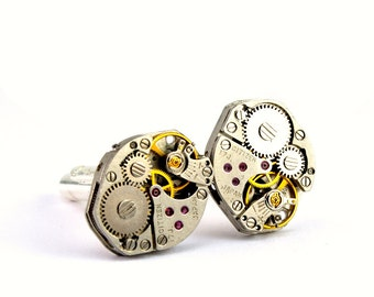 Silver Gold Steampunk Cufflinks Citizen Watch Movement Clockwork Cufflinks Wedding Groom Vintage Jewelry designed by London Particulars