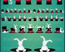 Abracadabra set 3 - 5 digital clipart graphics - rabbits playing on magician hat borders [INSTANT DOWNLOAD]