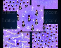 Abracadabra Set 4 - 16 digital scrapbooking papers - magician, rabbits, stars, etc {Instant Download}