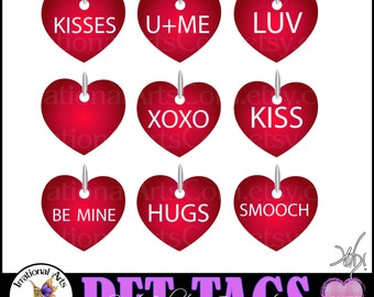 Pet Tags Heart Charms Sweet Valentine's Day set 3 - PNG clipart graphics of red Valentine's Day themed pet tags {Instant Download}