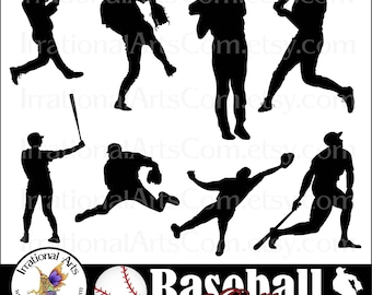 Baseball Silhouettes - 8 png digital clipart graphics {Instant Download}