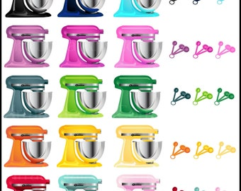 50's Kitchen Digital Clipart Graphics - 18 colors of mixers and spoons {Instant Download}