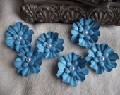 Scrapbook Flowers...6 Piece Set of Very Sweet Turquoise Camilla Scrapbooking Paper Flower Embellishments