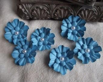 Scrapbook Flowers...6 Piece Set of Very Sweet Turquoise Camilla Scrapbooking Paper Flower Embellishments