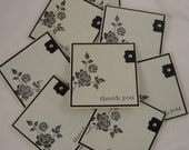 Rose Silhouette - set of 8 mini thank you cards in pale blue, cream and black