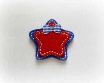 Patriotic Stars Appliques, Patriotic Appliques, Star Felt Appliques, Red and Blue Appliques Set of 4