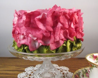 Bridal Shower Cake Faux Flower Petal Cake Fuchsia with Pistachio Green Base Fake Birthday Cake Display Cake Photo Prop Mothers Day Keepsake