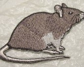 Common Grey Rat Iron on Applique - Patch - 2 sizes available - Made in USA