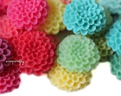 20pc you choose pompom mum 20mm resin flower cabochons, great for making hairpins, earrings and rings, 18 colors,