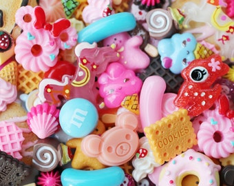 25 pc decoden sweets cabochons mix / cute kawaii cabochons and embellishments for diy jewelry