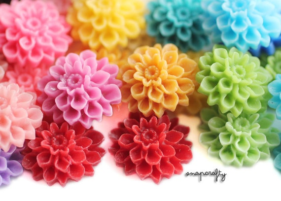 40pc you choose dahlia resin flower cabochons, 16mm, 19 colors, perfect for making hairpins, rings, earrings