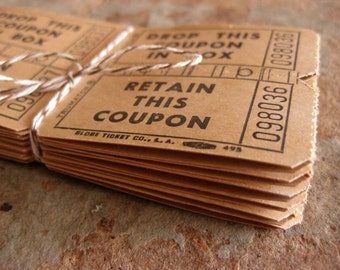 Vintage Coupons, Tickets (24x2), 48 tickets, Tan and Black, Weddings, Cards, Rustic Paper Ticket Epemera