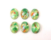 6 RARE Vintage 10x7mm Peridot Green Fire Opals, Unique & Special Oval Glass Flat Back Cabochons, with Multicolored Metallic Foil Inclusions