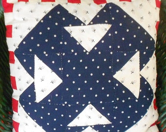 VINTAGE FABRIC PILLOW, antique fabric, indigo, calico, cushion,  ooak