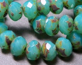 Czech Aqua Opal Picasso 4x6mm Faceted Fire Polished Glass Rondelle Beads (25) 0728-P