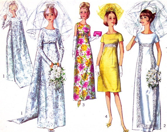 1960s Wedding Dress Pattern Simplicity 6352 Empire Waist