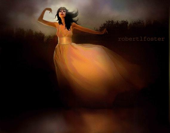 lady art print, painting, fantasy, dancer, dancing, Lake Dancer