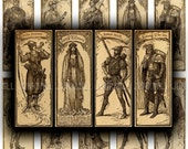 "ROBIN HOOD - Digital Printable Collage Sheet - Vintage Sherwood Forest, Maid Marian, Renaissance Folklore, 1"" X 3"" Tiles, Instant Download"