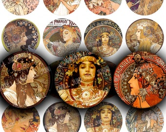 "MUCHA MINIS - Digital Printable Collage Sheet - 1"" Circles, 25 mm Round - Alphonse Mucha Paintings, Art Nouveau, Art Deco, Digital Download"