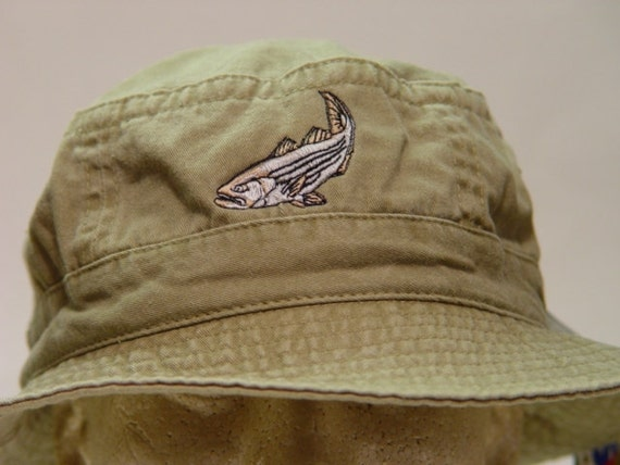 Items similar to striped bass xl bucket hat one for Bass fishing hats
