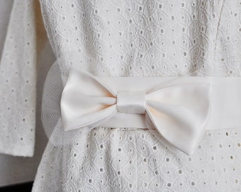 Ivory Bow Sash - For Wedding, Brides and Bridal Parties - Made to Order
