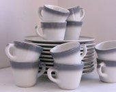 Vintage restaurant ware set by Caribe gray border 10 plates 10 cups