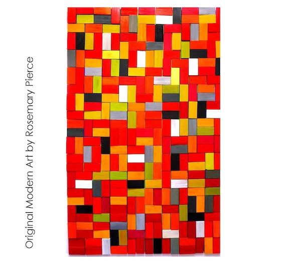 IN STOCK SALE | Original Art | Abstract Art | Geometric Wall Sculpture | Painted Wood Art | Wall Sculptures | Rosemary Pierce Modern Art