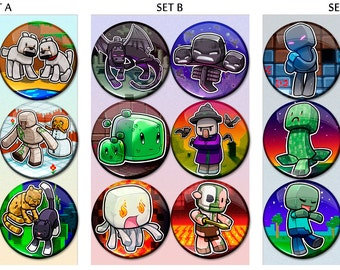 """Creative Block Game Chibi (Combined Sets) 1.75"""" Pin-Backed Buttons - Set of 18"""