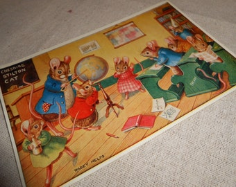 Vintage Woodland Medici Postcard Mouse Class Room