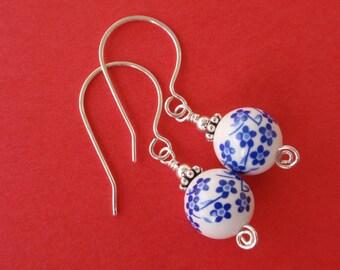 Blue Flower Ceramic Earrings