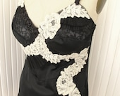 Paint It Black- Black and Cream Lace Slip top with pearls and pleating
