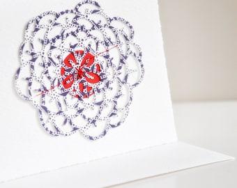 SALE Blossum Cutout Gift Card Layered Deckle Edged Blue Pretty Birthday New Baby All Purpose Card